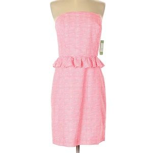 [lilly pulitzer] pink gingham lowe strapless dress